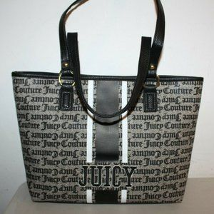 JUICY COUTURE BLACK BEIGE GOTHIC STRIPE TOTE BAG